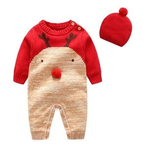 PatPat Baby Boy Christmas Knit Jumpsuit and Hat